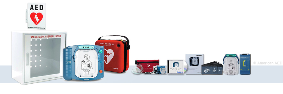 Philips HeartStart OnSite Complete AED Package With Wall Cabinet & AED Sign