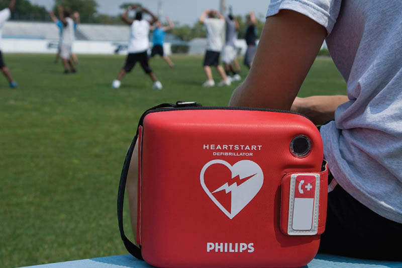 FRx Defibrillator In An Athletics Field