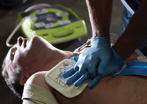 Zoll AED being used